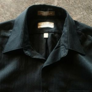 Van Heusen Black Satin Stripe Button Front Shirt M